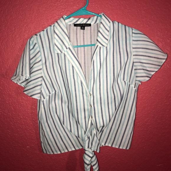 Haute Monde Tops - Blue striped blouse